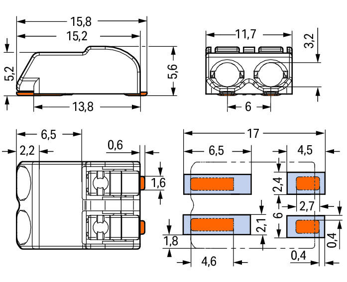 SMD PCB terminal block; Push-button; 1.5 mm²; Pin spacing 6 mm; 2-pole; Push-in CAGE CLAMP®; in tape-and-reel packaging