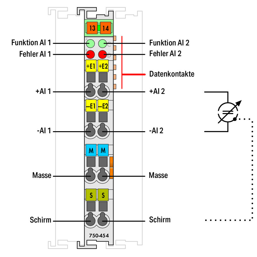 Wago 2 Channel Analog Input 750 454 Sensor Wiring Diagram To 4 Conductor Connection Differential