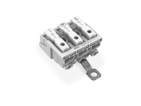 Power supply connector; with screw-type ground contact; with snap-in mounting feet; N-PE-L; 3-pole