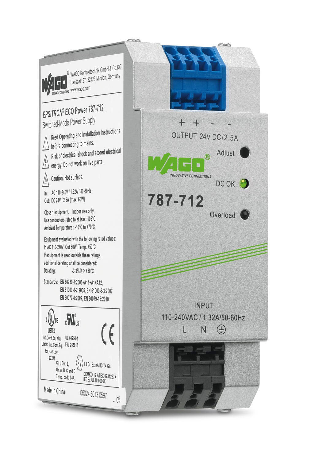 Wago Switched Mode Power Supply 787 712 Identification Of Conductors For Both Ac And Dc Circuits Epsitron Eco 1 Phase 24 Vdc Output Voltage 25 A Current