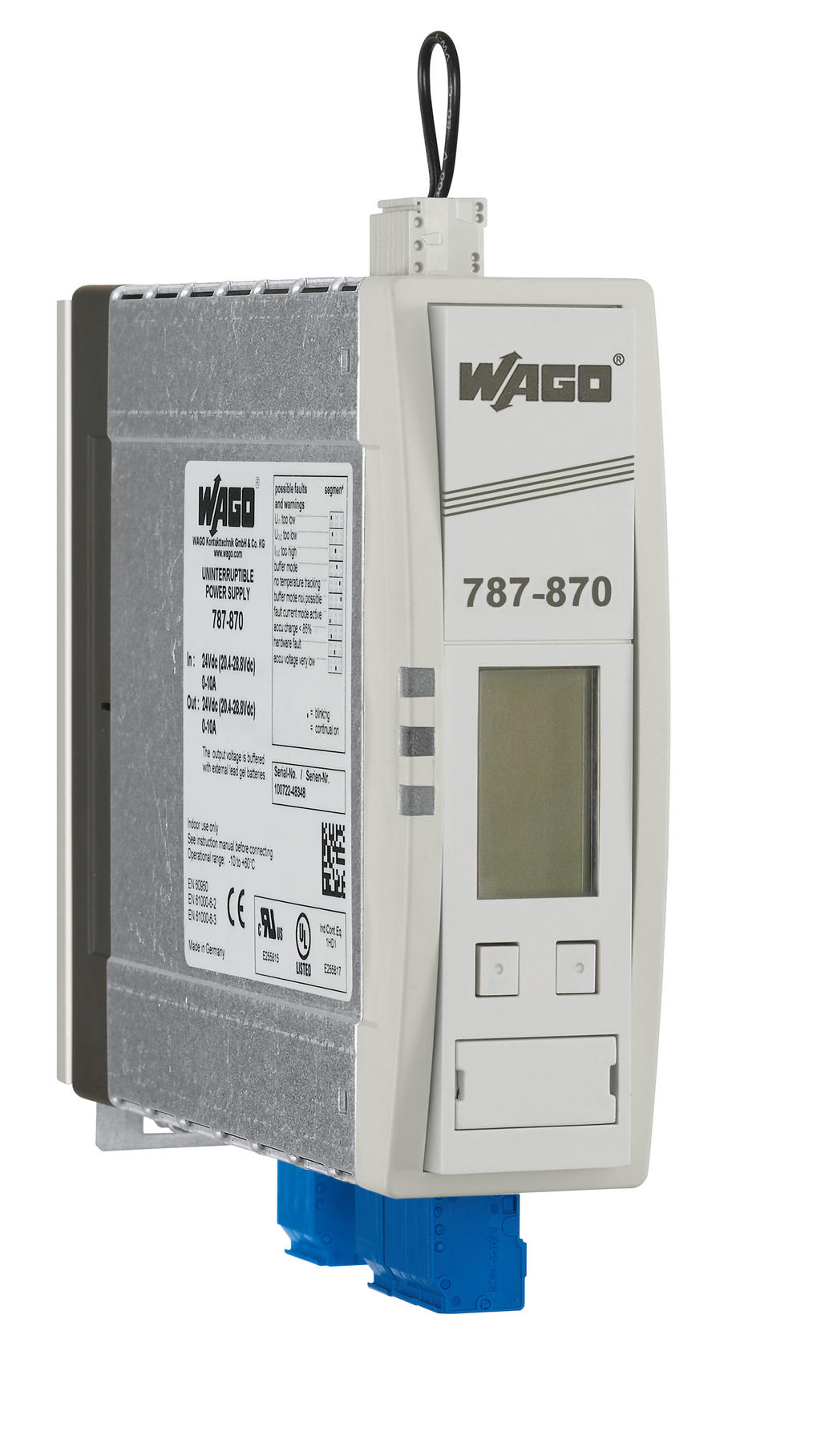 Wago Ups Charger And Controller 787 870 Frequency Circuit Includes Knife Switch Breaker Inverter 24 Vdc Input Voltage Output 10 A Current Linemonitor Communication Capability