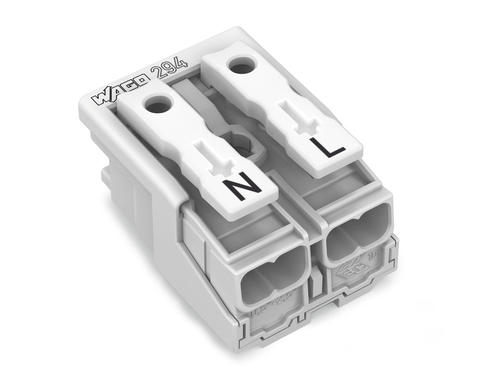 Power supply connector; without ground contact; without snap-in mounting feet; N-L; 2-pole