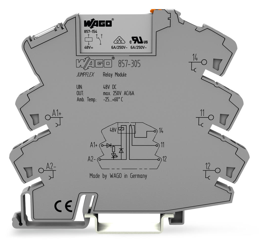 Wago Relay Module 857 305 Dc Power Supply Miniature Isolated Diagram And Circuit Nominal Input Voltage 48 Vdc 1 Changeover Contact Limiting Continuous Current 6 A Yellow Status Indicator Width Mm