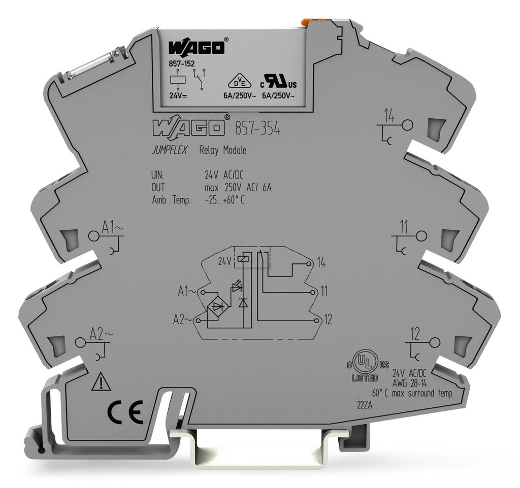 Wago Relay Module 857 354 24 Volt Wiring Diagrams Nominal Input Voltage V Ac Dc 1 Changeover Contact Limiting Continuous Current 6 A Yellow Status Indicator Width Mm