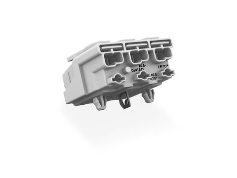 Power supply connector; with direct ground contact; with snap-in mounting feet; N-PE-L; 3-pole