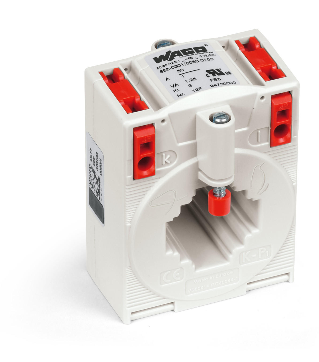 Plug-in current transformer; Primary rated current: 50 A; Secondary rated current: 1 A; Rated power: 1.25 VA; Accuracy class: 3