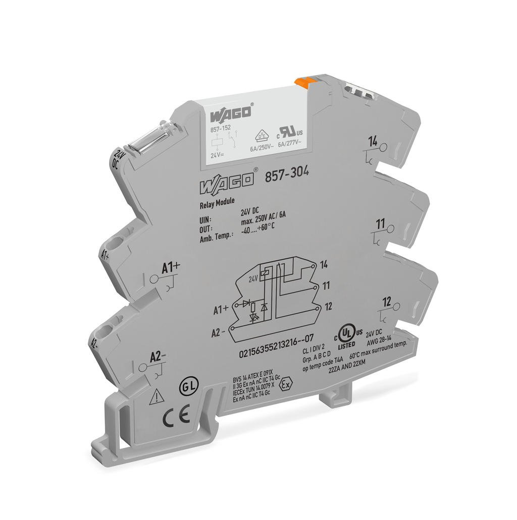 Relay module; Nominal input voltage: 24 VDC; 1 changeover contact; Limiting  continuous current: 6 A; Yellow status indicator; Module width: 6 mm