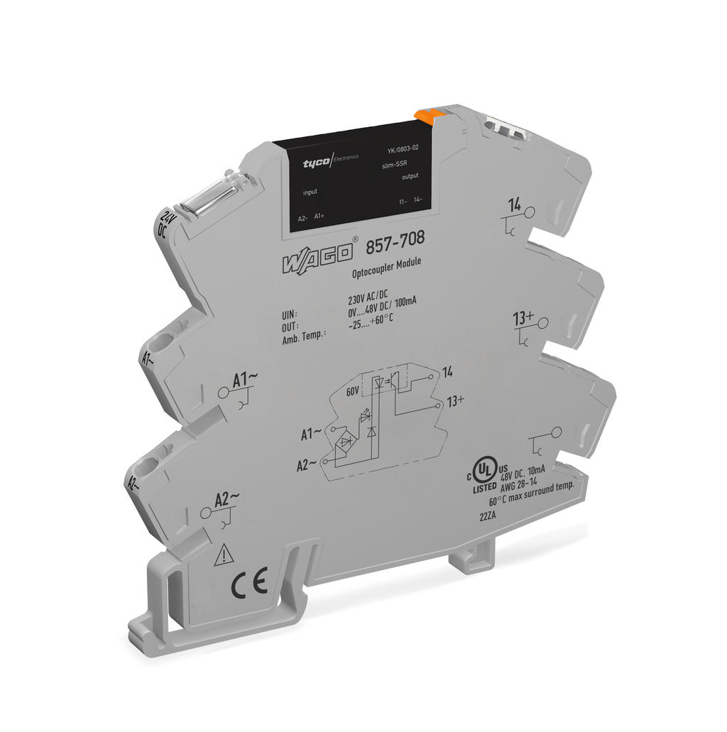 Wago Solid State Relay Module 857 708 Dc Or Ac Voltage Indicator Nominal Input 230 V Output Range 0 48 Vdc Limiting Continuous Current 01 A 2 Wire Connection