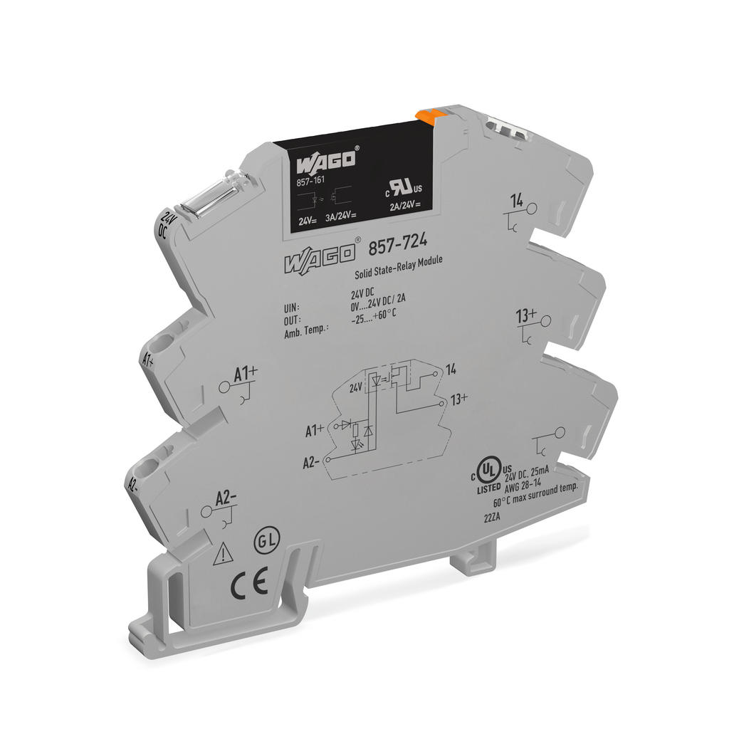 Wago Solid State Relay Module 857 724 Turn On Voltage Nominal Input 24 Vdc Output Range 0 Limiting Continuous Current 3 A 2 Wire Connection