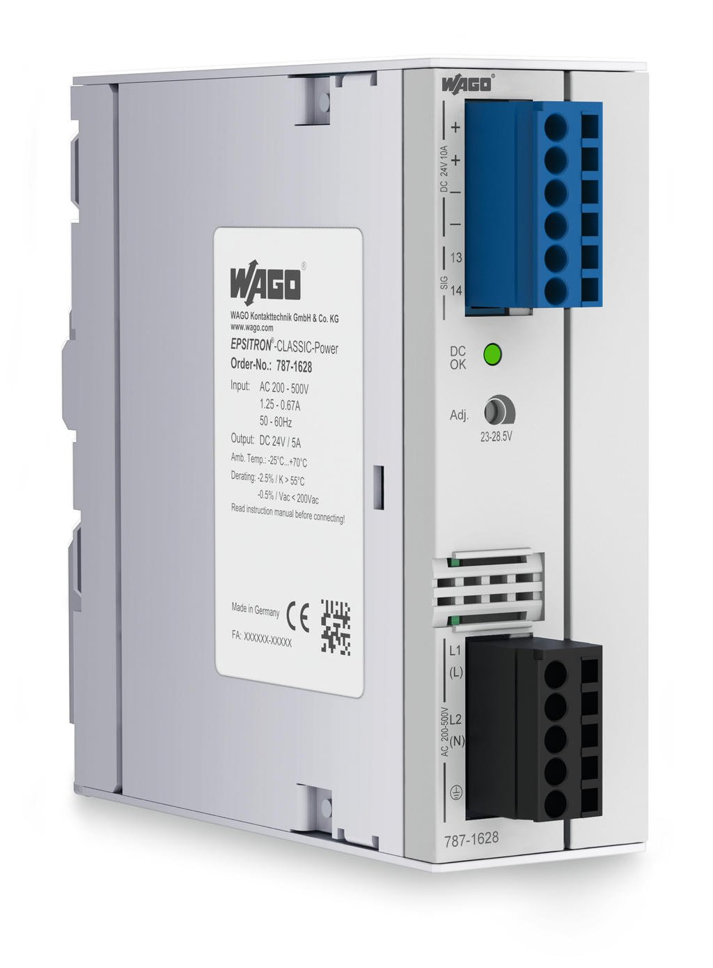 Wago Epsitron Classic Power Supply 787 1628 Solutions 5v System Protected From 24v Supplies 2 Phase Output Voltage 24 Vdc 5 A Topboost