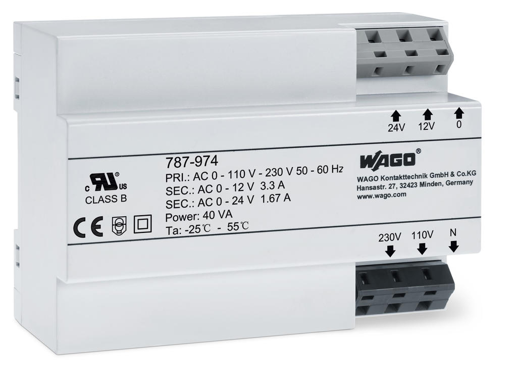 Wago Transformer Power Supply 787 974 Using A To Step Down 230v 12v Electrical Engineering Input Voltage 230 Vac Output 12 24 40 Va