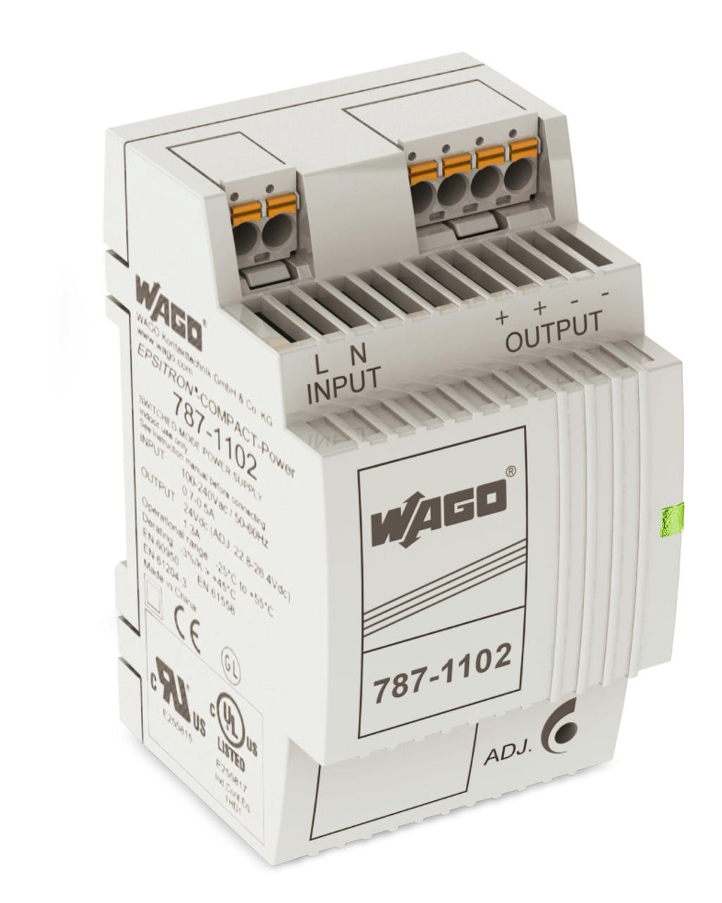 Wago Epsitron Compact Power Supply 787 1102 Electrical Breakers Wiring As Well Circuit Breaker Panel Labels Single Phase Output Voltage 24 Vdc 13 A With Picomax Connector
