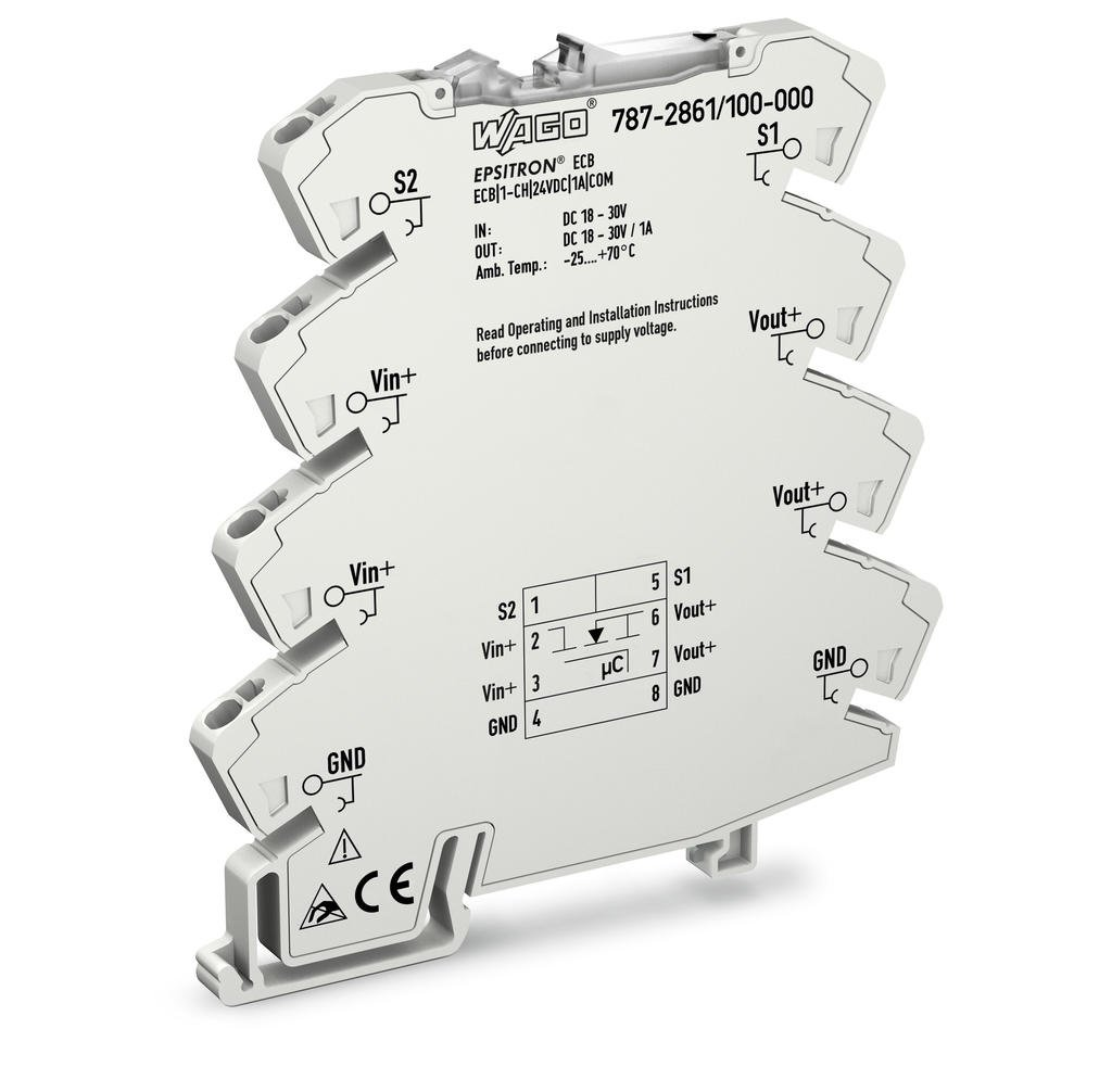 electronic circuit breaker; 1-channel; 24 VDC input voltage; 1 A;  communication capability