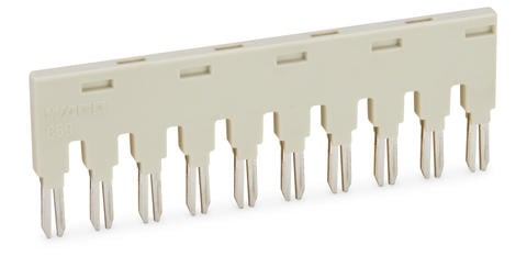 Push-in type jumper bar; Light gray; Insulated; 18 A; 10-position