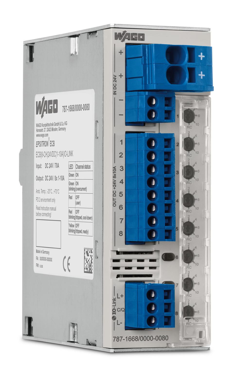 Wago Electronic Circuit Breaker 787 1668 000 080 Trippingcircuitbreakerpaneljpg 8 Channel 24 Vdc Input Voltage Adjustable 1 10 A Io Link