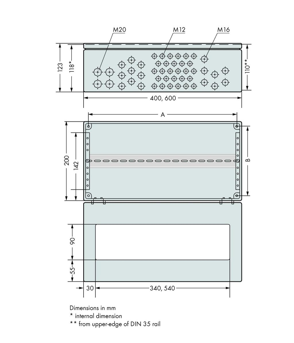 110 Block Enclosure Wiring Diagram Wago Ip65 850 804 Stainless Steel Wxhxd 400x123x200 Mm 4 X M20
