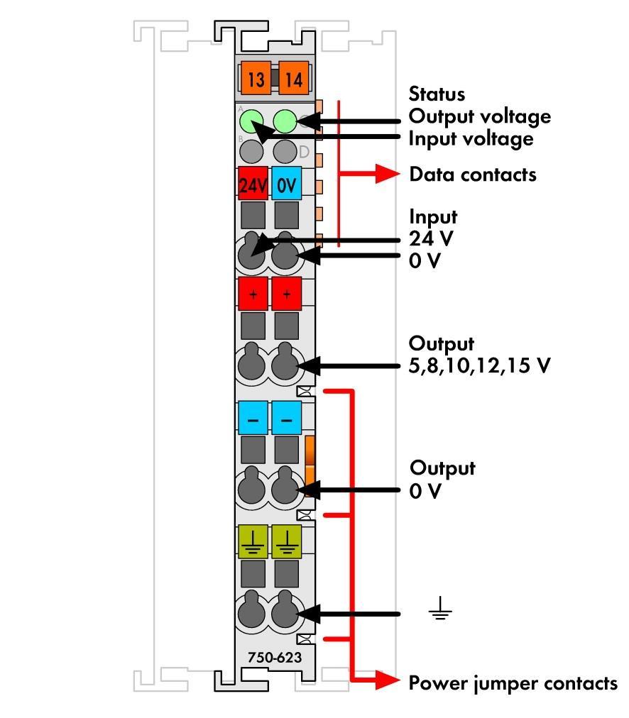 Wago Power Supply 750 623 12 Volt Symmetric Circuit 24 V 5 15 Vdc