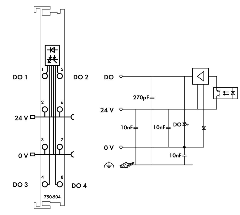 Wago 4 Channel Digital Output 750 504 How To Switch Highly Inductive Loads Using I O Manuals 24 Vdc 05 A
