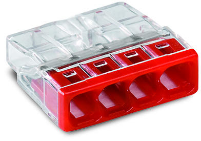COMPACT PUSH WIRE® connector for junction boxes; 4-conductor terminal block; transparent housing; red cover