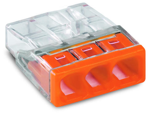 COMPACT PUSH WIRE® connector for junction boxes; 3-conductor terminal block; transparent housing; orange cover