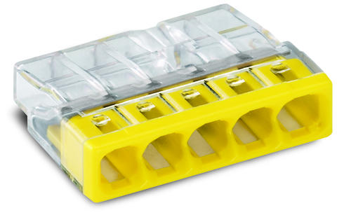COMPACT PUSH WIRE® connector for junction boxes; 5-conductor terminal block; transparent housing; yellow cover