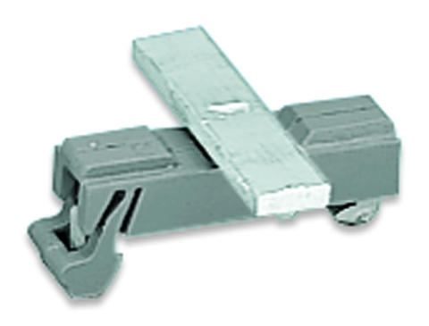 Carrier with grounding foot; parallel to carrier rail; 45 mm long; Cu 10 mm x 3 mm