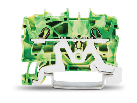TOPJOB®S ground terminal block; rail mount; 2-conductor; 5.2 mm wide; green-yellow