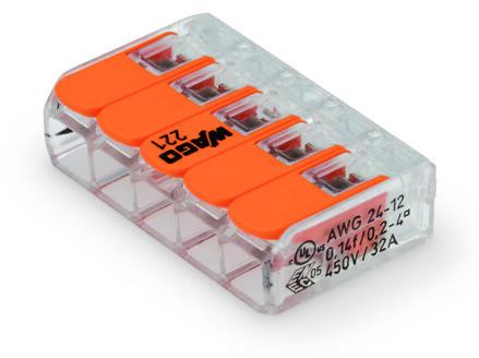 Coloris orange WAGO 221-415 Bornes de raccordement compactes avec leviers pour 5/conducteurs de 0,14 /à 4/mm/²
